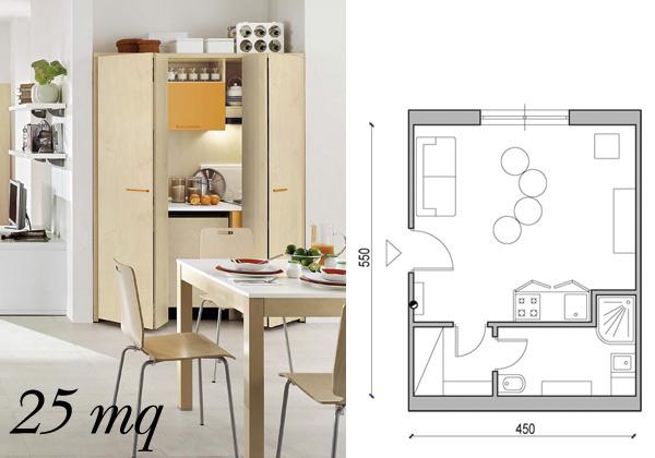 Soluzioni da 25 a 60 mq foto 1 livingcorriere for Cucina soggiorno 15 mq