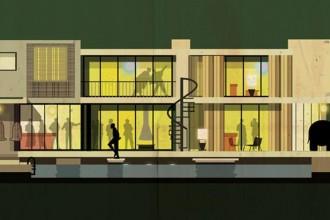 Archicine è il progetto grafico di Federico Babina: quindici poster illustrati che raccontano il rapporto tra cinema e architettura. Una serie di edifici scelti da grandi registi come set dei loro film. In foto il condominio a Los Angeles nel quale è ambientato 'The party' il film, regia di Blake Edwards, girato nel 1968