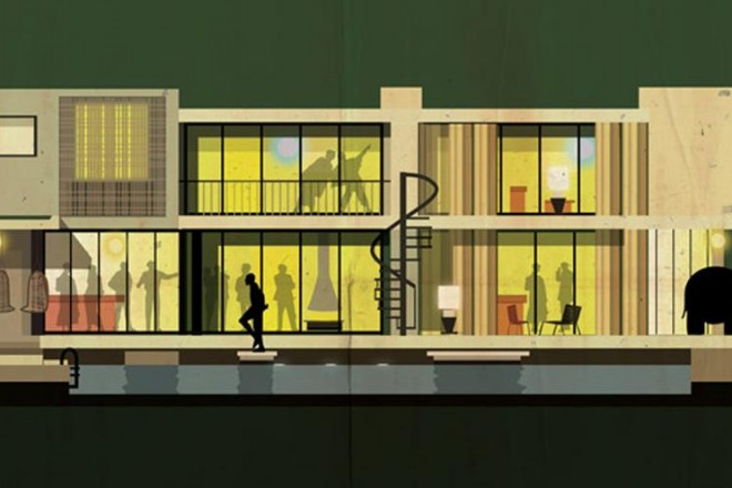Archicine è il progetto grafico di Federico Babina: quindici poster illustrati che raccontano il rapporto tra cinema e architettura. Una serie di edifici scelti da grandi registi come set dei loro film. In foto il condominio a Los Angeles nel quale è ambientato 'The party' il film, regia di Blake Edwards, girato nel 1968