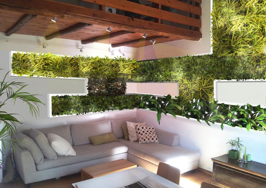 Come vivacizzare il soggiorno con un giardino verticale geometrico