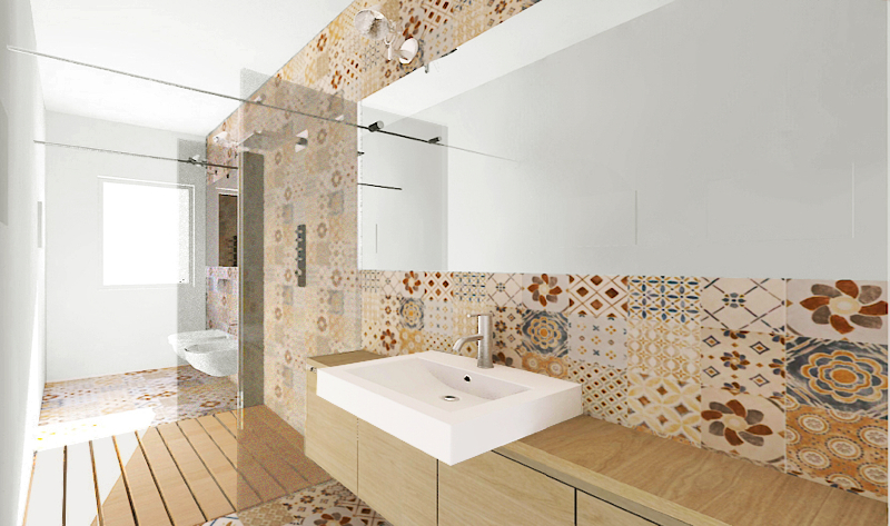 Bagno Stretto E Lungo Arredamento : Una doccia passante per un bagno stretto e lungo foto
