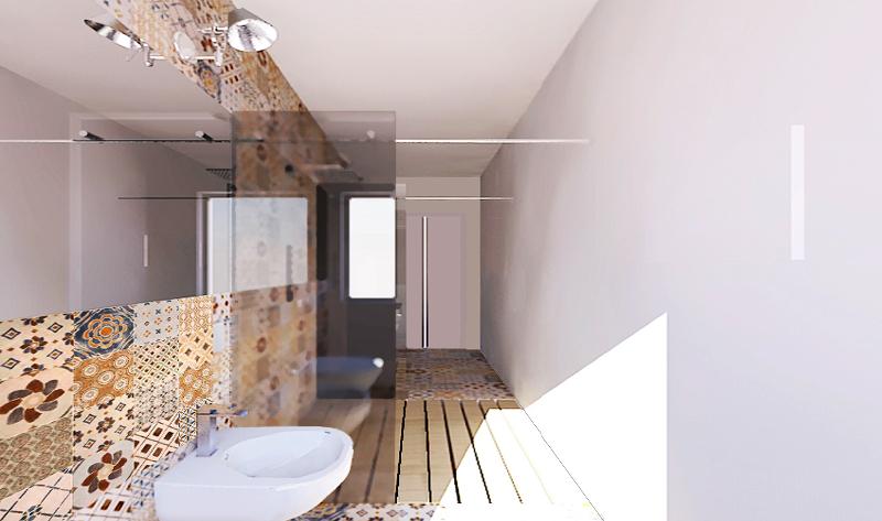 Piastrelle Bagno Lungo Stretto : Una doccia passante per un bagno stretto e lungo foto
