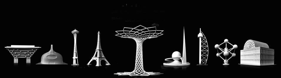 La Tour Eiffel e gli atri monumenti delle Esposizioni Universali replicati con le stampanti di ultima generazione