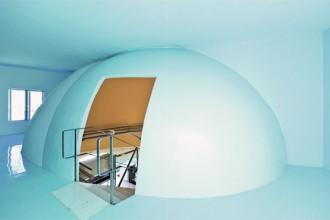 Il tema dell'arco e la sua evoluzione in cupola è alla base di tutta la progettazione deil complesso dei laboratori di ricerca