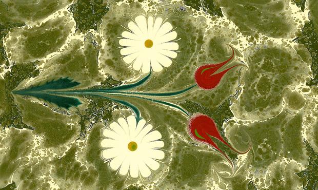 Ebrû con motivi floreali realizzato dal calligrafo turco Fuat Başar. Il disegno è eseguito sulla superficie di un liquido denso composto di bile animale
