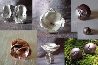 Gli orecchini in bronzo brunito e argento realizzati da Emi Kato