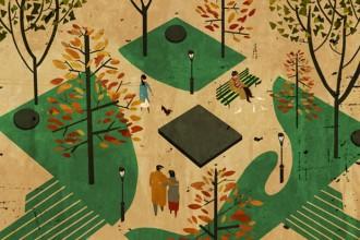 Un'illustrazione per l'americano Computer Magazine. Il giardino a forma di microchip accompagna un articolo sulla possibilità e l'utilità di una produzione di componenti elettroniche ecocompatibili