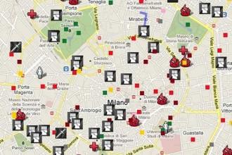 La mappa della cronaca nera 2010 nel centro di Milano. Immagine Via  