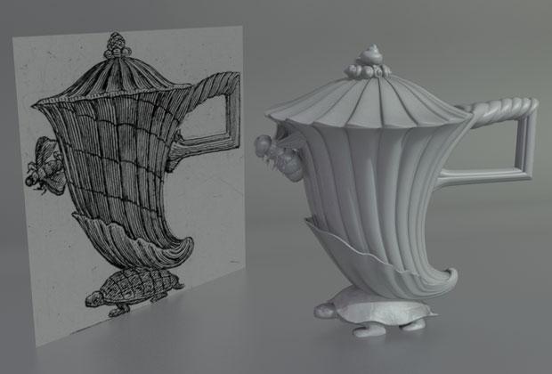 Un disegno originale e la fedele ricostruzione del tripode ideato da Piranesi. Questo e una serie di altri oggetti non erano mai stati realizzati prima. Courtesy Fondazione Giorgio Cini onlus