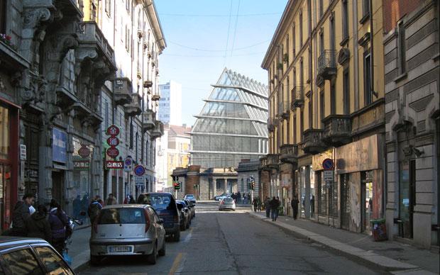 Un'immagine del nuovo edificio visto da via Paolo Sarpi. Il progetto dovrebbe essere terminato entro il 2015. © Herzog de Meuron