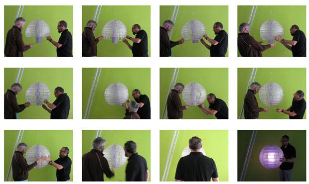 Il designer Giulio Iacchetti e l'assistente montano Tropico. Prima il diffusore interno