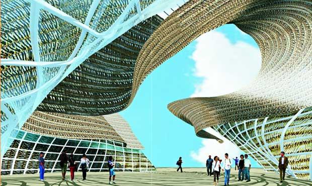 """Un enorme """"paniere"""" di vimini con al centro una grande plaza e intorno tanti spazi diversi"""