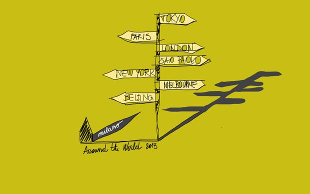 Un disegno dello studio Migliore + Servetto Architects che curerà l'allestimento della mostra Around the World in Triennale