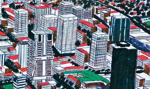 I grattacieli di Pretoria in un dettaglio dell'opera Panorama Pietersburg-Sasolburg di Titus Matiyane (2006). L'artista è di origine Ndebele
