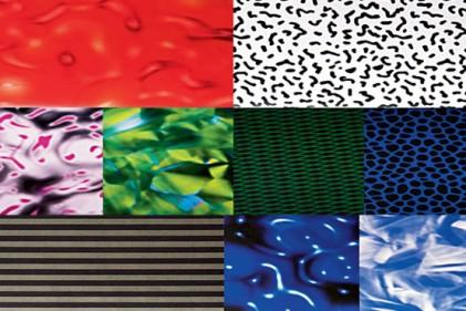 """Alcuni esempi di texture progettate per Abet Laminati. Alla lunga collaborazione tra il designer e l'azienda è dedicato """"Abet Laminati e Ettore Sottsass"""