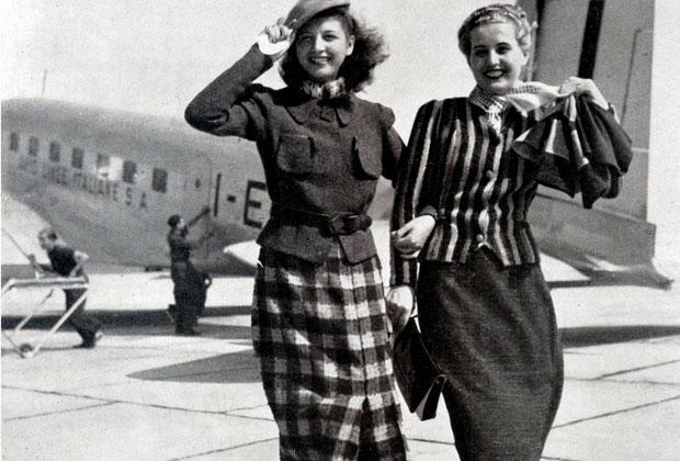 L'immagine di due giacche a maglia pubblicata nel numero di settembre del 1938 nella rivista mensile Fili. Le giacche vengono proposte: Per viaggiare in aeroplano
