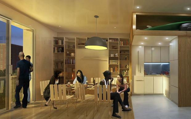 Rendering di uno degli appartamenti del progetto My Micro Ny: ampi soffitti