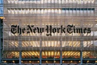 Sulla facciata della torre del New York Times