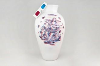 """Sul vaso 3Dizionale di Guido Garotti il decoro """"Antico Savona"""" è reinterpretato in chiave digitale."""