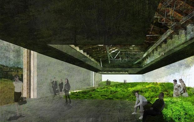 Un rendering dell'allestimento del Padiglione Italia curato da Luca Zevi