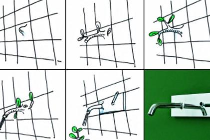 """Schizzi di progetto e foto del rubinetto """"Pan"""" disegnato per Zucchetti"""