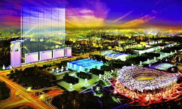 Il Pangu Plaza (l'insieme di edifici a sinistra): un complesso che ha richiesto per gli interni le forniture di aziende italiane. La torre (191 m) ospita gli uffici