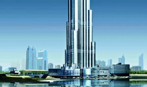 La torre Burj Dubai: ancora in costruzione