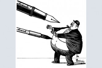 La forza della penna contrapposta al potere delal borghesia nel tratto inconfondibile di Giuseppe Scalarini