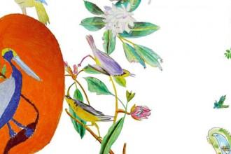 Volatili (2008): la carta da parati realizzata da Francesco Simeti con i disegni degli artisti residenti nell'ospedale psichiatrico Fatebenefratelli di San Colombano al Lambro