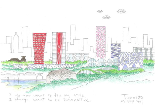 Toyo Ito. L'assoluta libertà di forma è caratteristica del grande architetto giapponese. Nel suo schizzo paesaggistico si nota la presenza del verde fra i grattacieli
