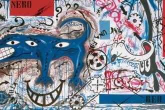 Pablo Echaurren, Vulcanizzatori di anime forate, 1990, acrilico su tela, 100 x 180 cm