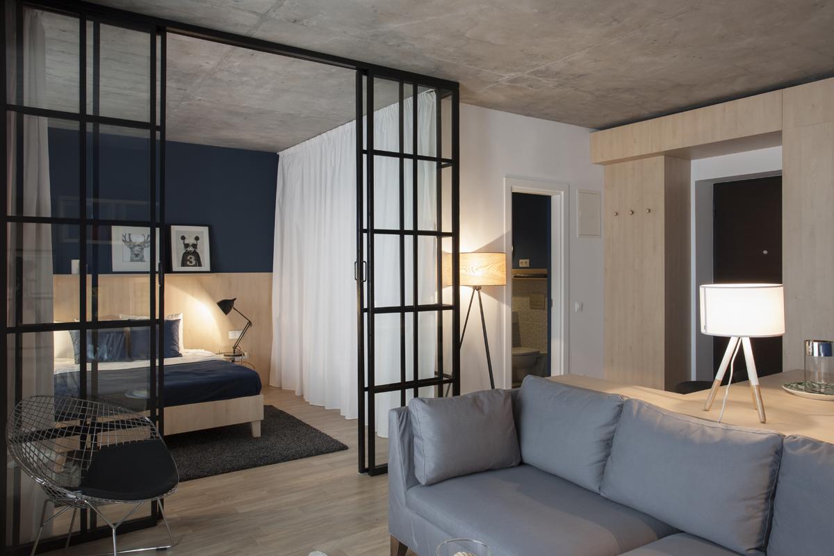50 mq con cucina e camera da letto a vista living corriere for Planimetria camera da letto