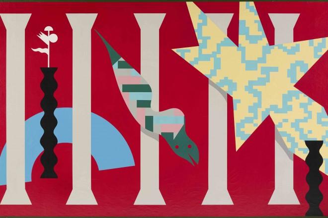 A. Mendini, ST, 1986, nitro su tela, tela, 195x150 cm_low