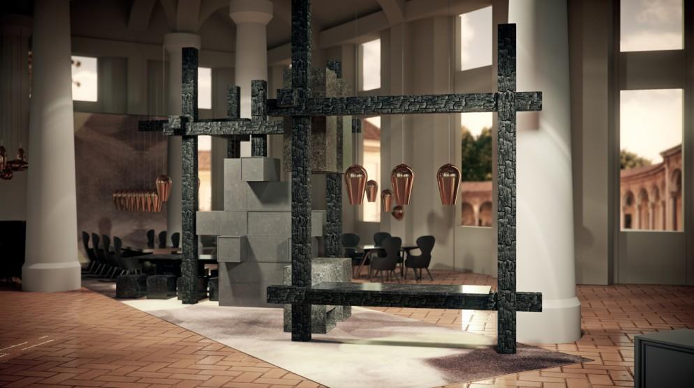 Caesarstone x Tom Dixon Fire Kitchen - Image credit to Caesarstone