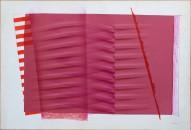 Galleria d'Arte l'Incontro, A.Bonalumi, Seta Rossa, 1986, carta estroflessa e seta 64x94