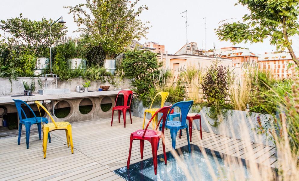 Giardino terrazzo Salmoiraghi. Designed by Cristina Mazzucchelli. Milan. Italy