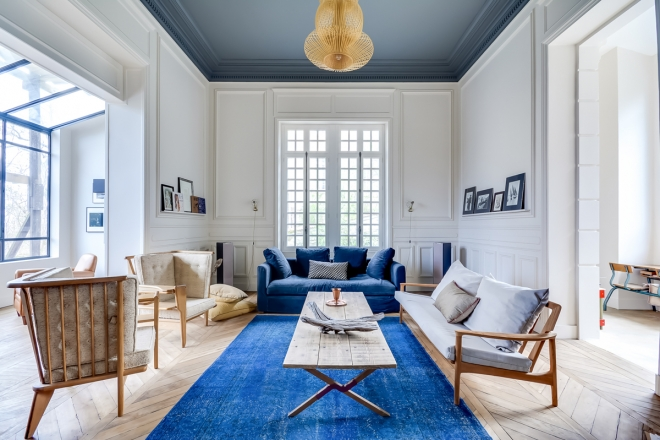 Decorare in bianco e blu living corriere - Decoratrice di interni ...