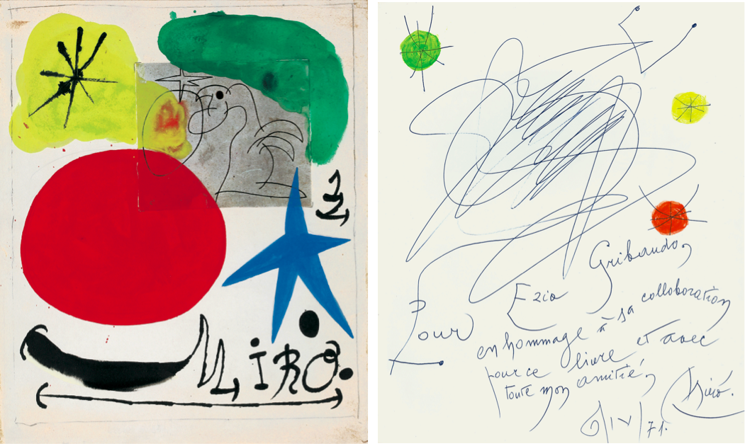 Joan Mirò, Senza titolo (1970), tecnica mista su carta, 30x25 cm e dedica ad Ezio Gribaudo