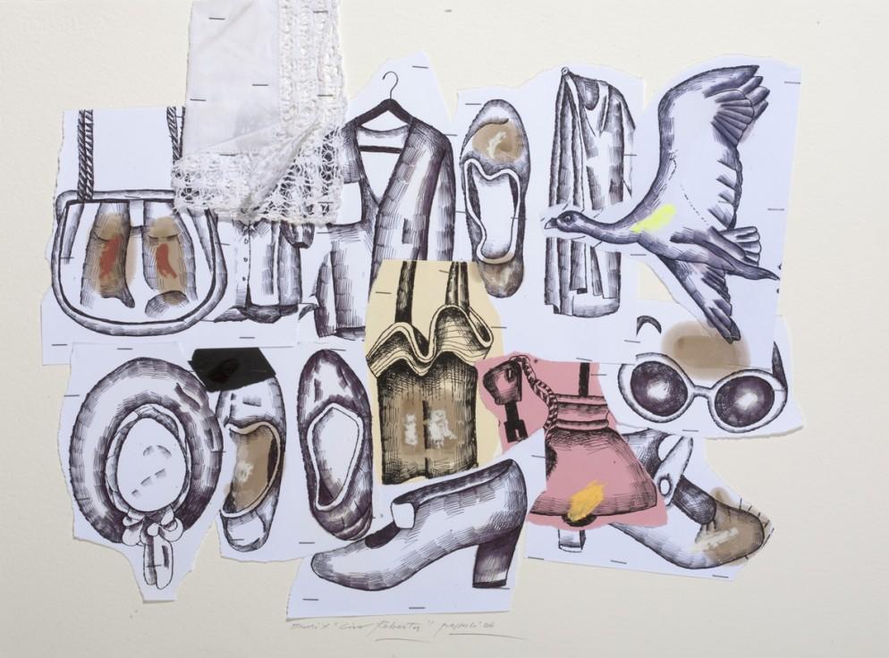 01_Concetto Pozzati, Studio per Ciao Robert, collage, tecnica mista, 2006