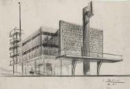 03_Luigi Vietti, S.t. (Casa del Fascio a Intra)Schizzo dell'edificio, 15.7.1933, Matita e carboncino su lucido, 430x634 mm
