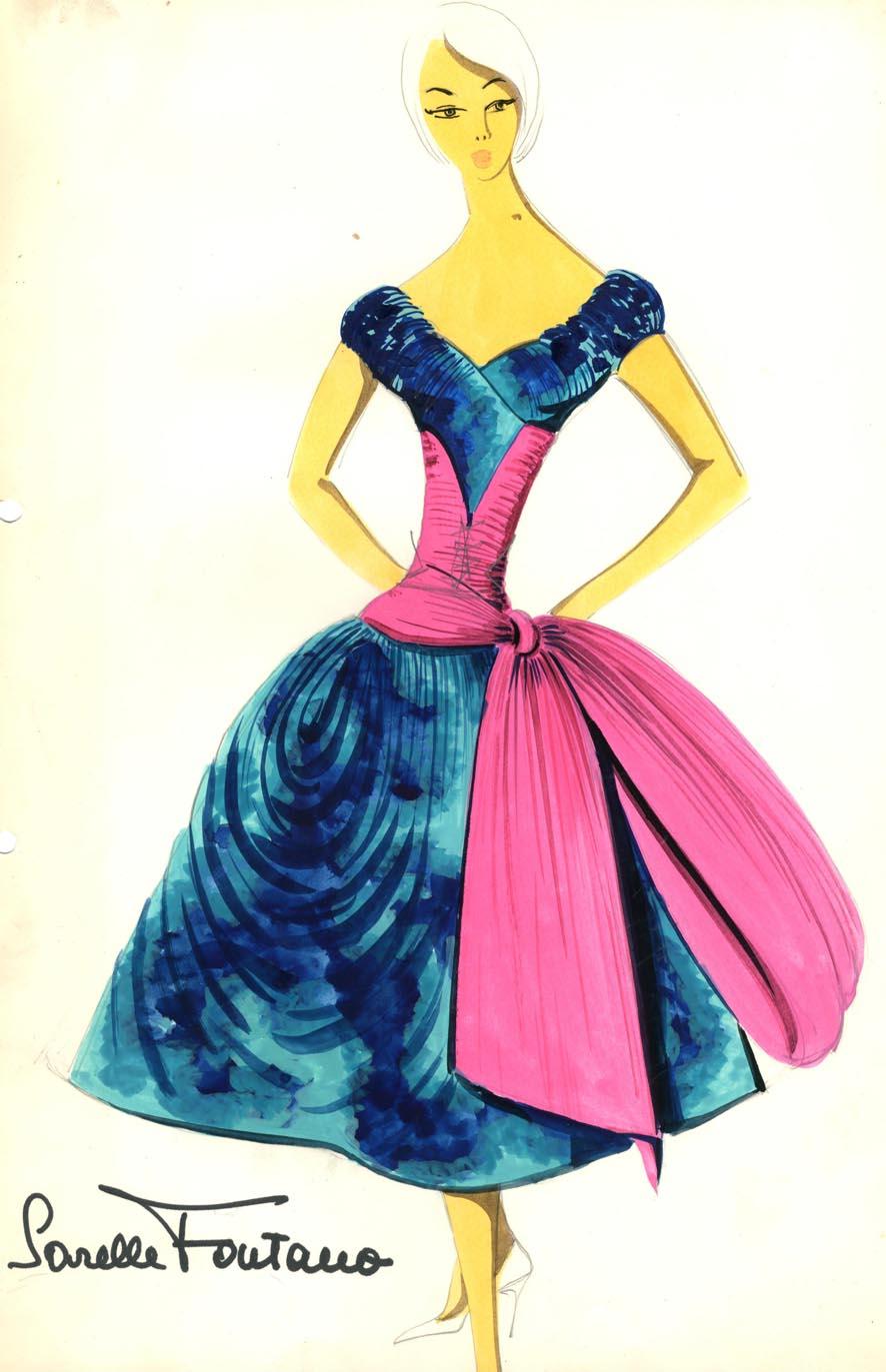 disegno di Antonio Pascali per Sorelle Fontana, 1955-60