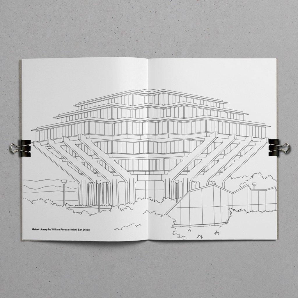 Architettura brutalista in un libro da colorare – Foto