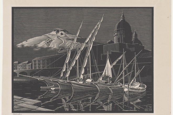 Maurits Cornelis Escher Catania 1936 Xilografia di testa, 24x32,1 cm Fondazione M.C. Escher All M.C. Escher works © 2016 The M.C. Escher Company. All rights reserved www.mcescher.com