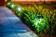 Solar Garden Light, Lanterns In Flower Bed. Garden Design