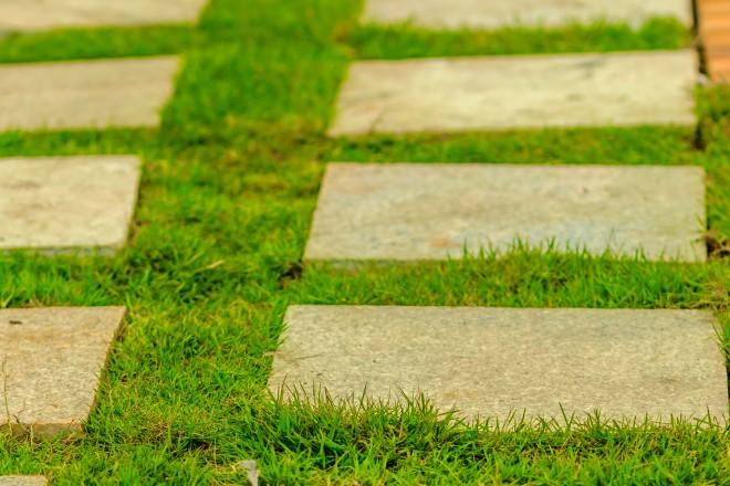 Percorso di pietra su erba