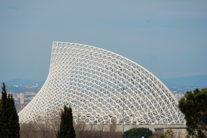 Rome, Lazio, Italy - January 18, 2017: the massive steel truss that had to cover the city of sport whose works started in 2005. Also called Vela Calatrava, the Spanish star architect Santiago Calatrava name that has designed, it has become one of the symbols of the waste of public money in Rome and Italy