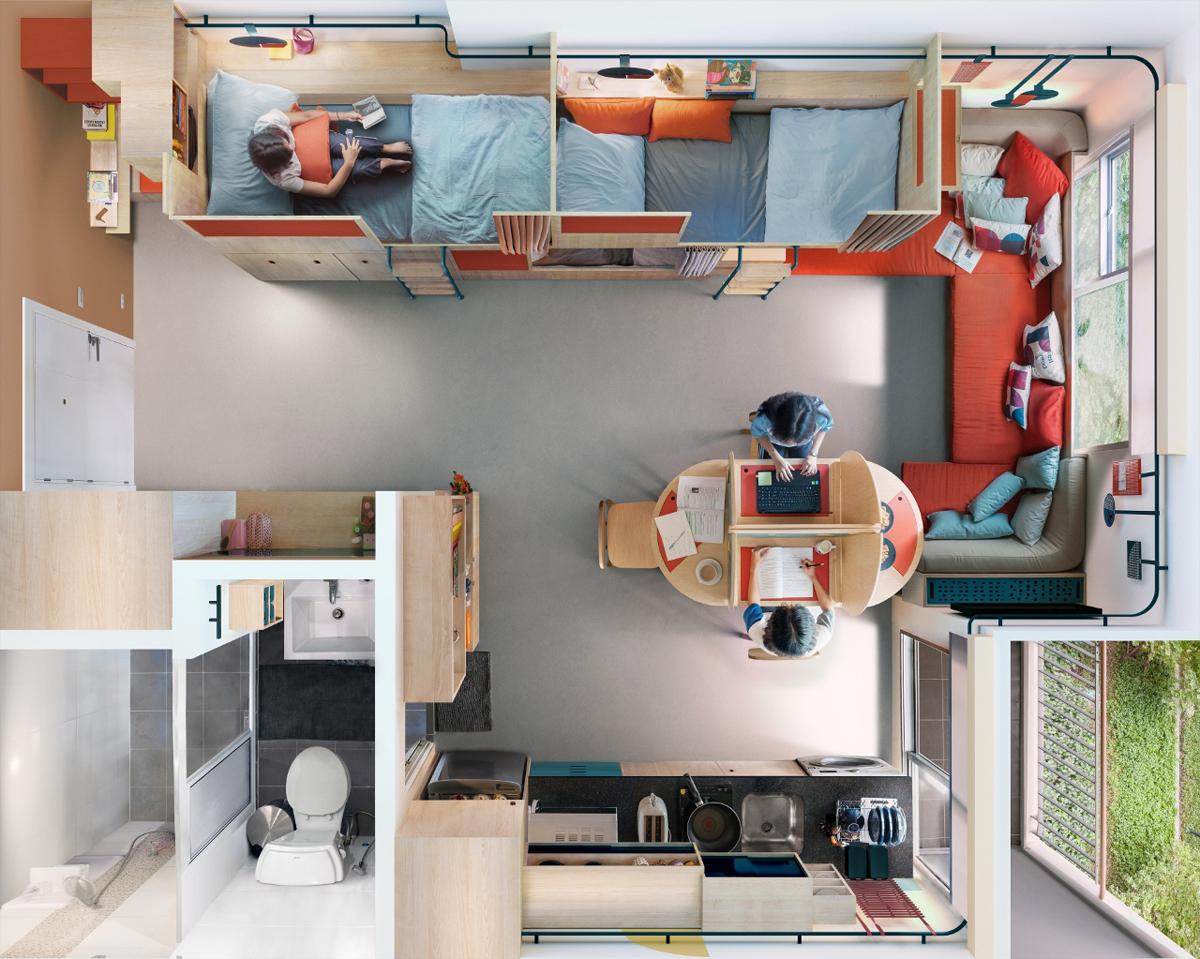 Fabrica disegna una residenza co living per 7 studenti for Space fabric nz