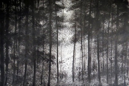 TheArtMovement_Petritoli_Black forest out of focus_ink on watercolour paper_2017 120x150cm