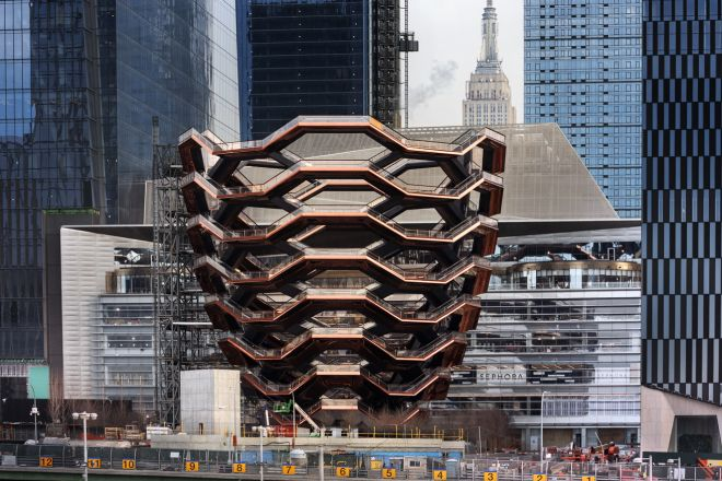 Photo - Vessel with The Shops & Restaurant at Hudson Yards - courtesy of Michael Moran for Related-Oxford