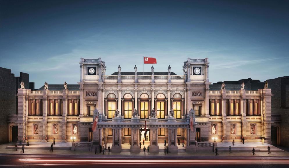 1.-The-Royal-Academy's-north-facing-entrance,-Burlington-Gardens